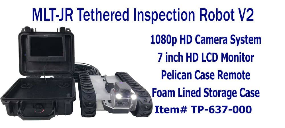 SuperDroid Robots Wireless Inspection Robot, inspection robots, compact inspection robot, tethered inspection robot